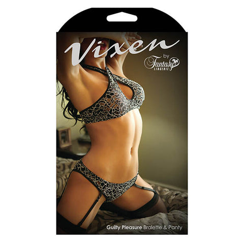 Vixen Guilty Pleasure Bralette & Panty - Black - One Size