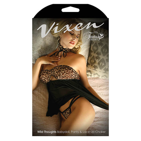 Vixen Wild Thoughts Babydoll, Panty & Lace Up Choker - Leopard/Black - One Size
