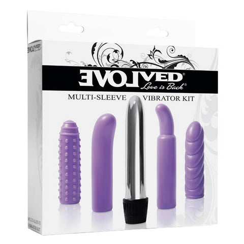 Multi-Sleeve Vibrator Kit - Silver Vibrator with 4 Sleeves
