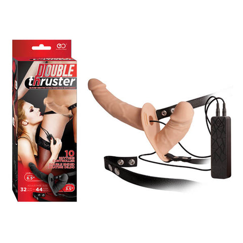 Double Thruster -  17 cm Vibrating Strap-On with 9 cm Vibrating Vaginal Plug