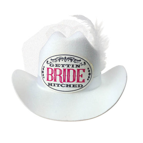 Gettin' Hitched Bride Cowboy Hat with Veil -  Hen's Party Novelty
