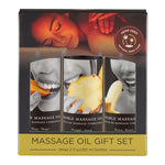 Edible Tropical Massage Oil Trio - Mango, Pineapple & Banana Flavoured - 3 x 59 ml Bottles