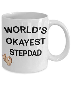 World's Okayest Stepdad Funny Ceramic Coffee Tea Mug