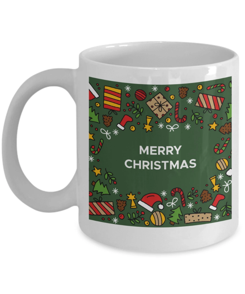 merry christmas green background mug