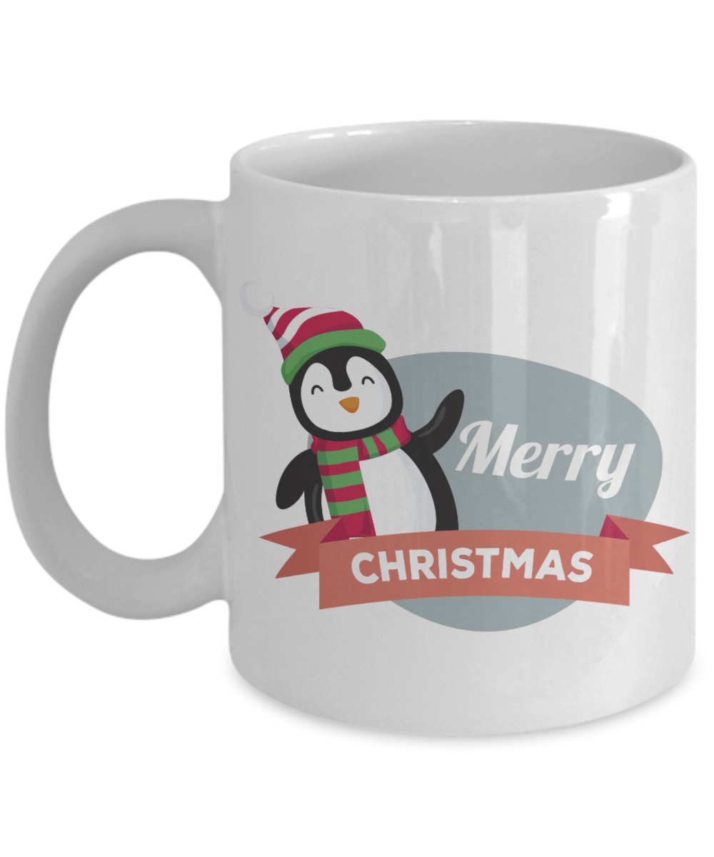 merry christmas penguin mug