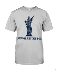 savages in the box premium shirt gray