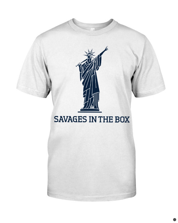 savages in the box premium shirt white