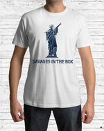 savages in the box premium shirt white model