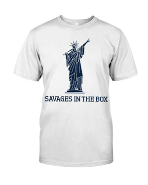 savages in the box unisex shirt  white