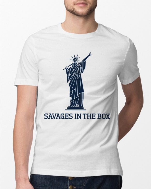 savages in the box unisex shirt white model