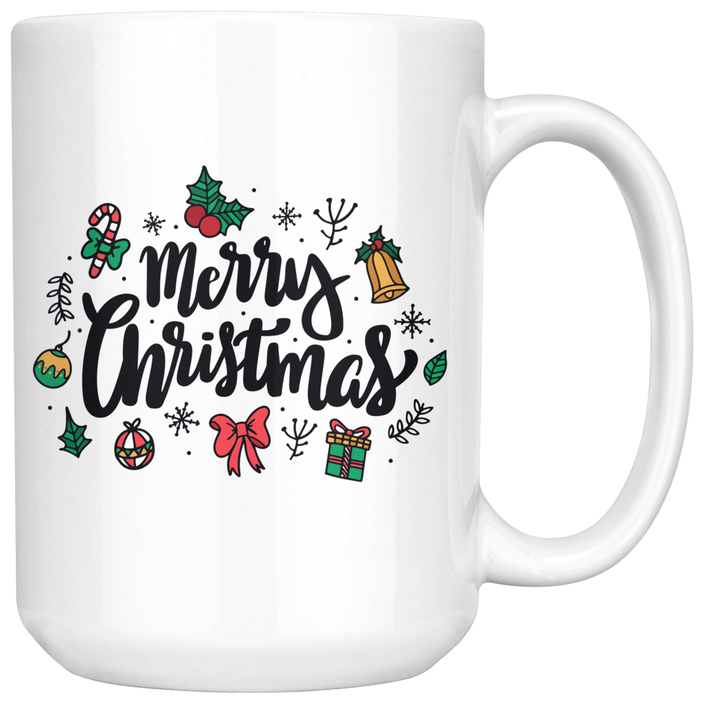 Merry Christmas Mug with Cute Xmas Decorations
