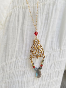 Labradorite & Crystal Pendant inspire by a trip to the Mucha Museum in Prague.