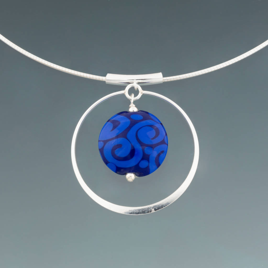 Bali Blues Circle Omega Necklace by Becky Congdon
