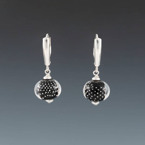 Black Sparkling Earrings (Fancy Leverbacks) by Becky Congdon