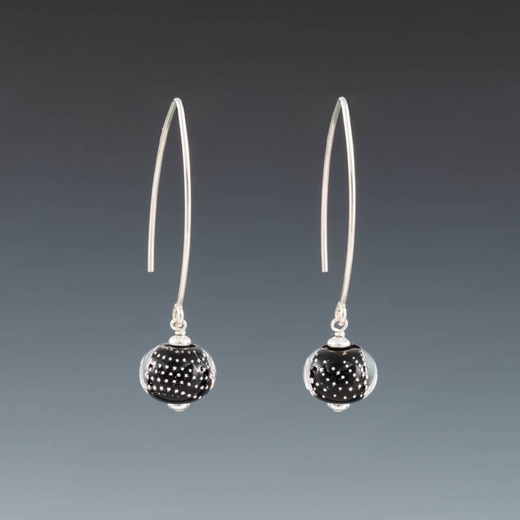 Black Sparkling Earrings (Long Ear Wires) by Becky Congdon