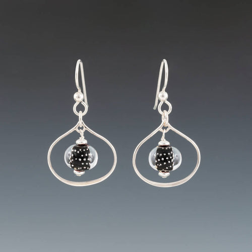 Black Sparkling Lotus Earrings by Becky Congdon