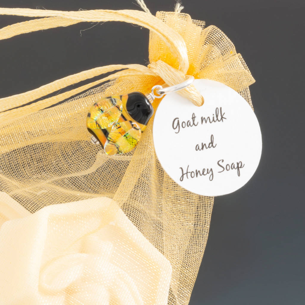 Goats Milk and Honey Soap with Bee Pendant (close-up) by Becky Congdon