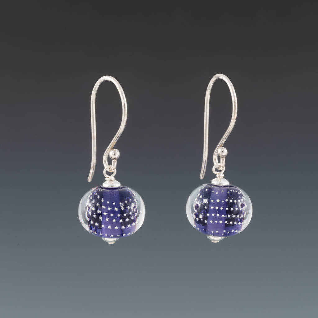 Ink Blue Sparkling Earrings (Ear Wires) by Becky Congdon