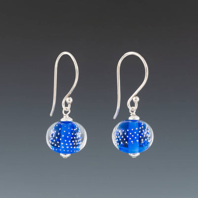 Intense Blue Sparkling Earrings (Ear Wires) by Becky Congdon