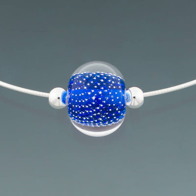 Intense Blue Sparkling Omega Necklace by Becky Congdon