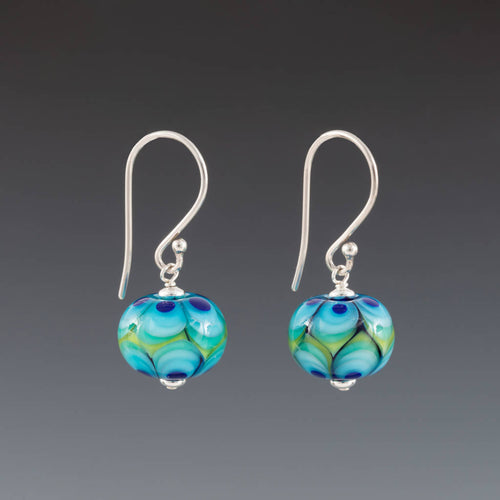 Modern Green Leaves Earrings (Earwires) by Becky Congdon