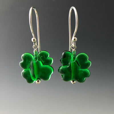 Handmade transparent kelly green shamrock glass beads on sterling silver Bali ear wires by Becky Congdon