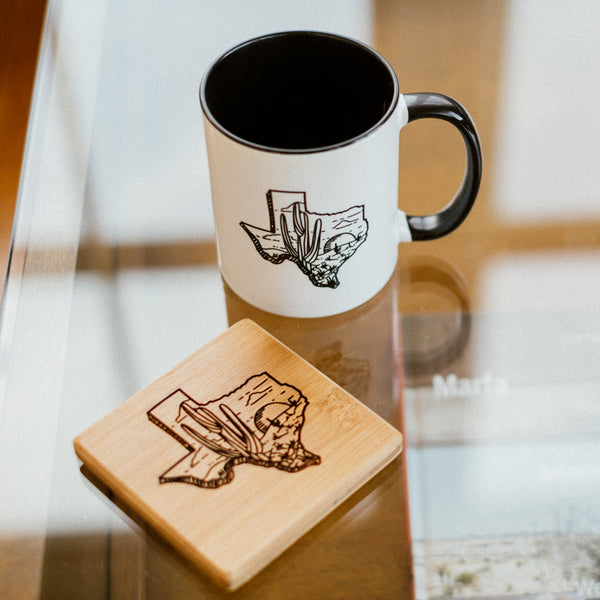 Greetings from Texas - Bamboo Coasters Coasters | Aimless Roots | Travel-Inspired Apparel | Gifts for Travelers