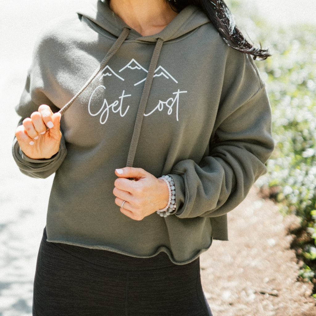 Get Lost Cropped Hoodie  | Aimless Roots | Travel-Inspired Apparel | Gifts for Travelers