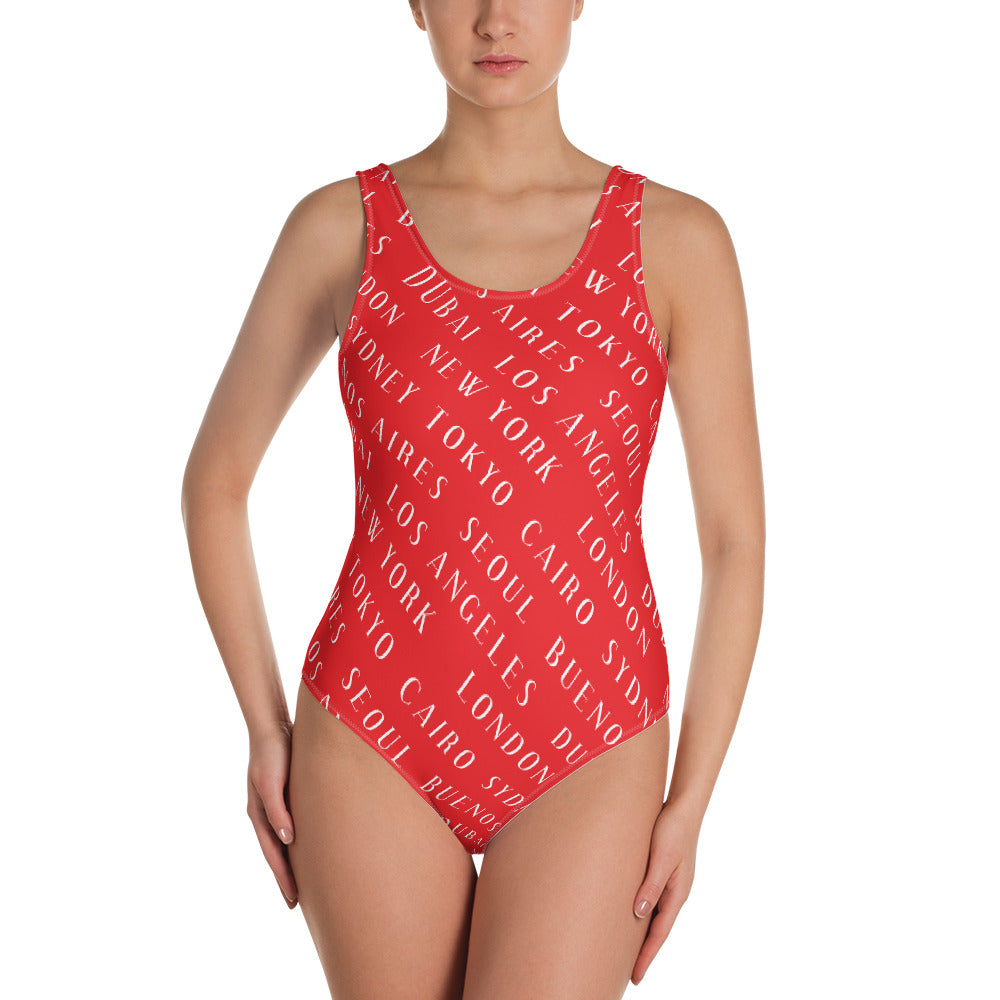 City Allover One-Piece Swimsuit  | Aimless Roots | Travel-Inspired Apparel | Gifts for Travelers