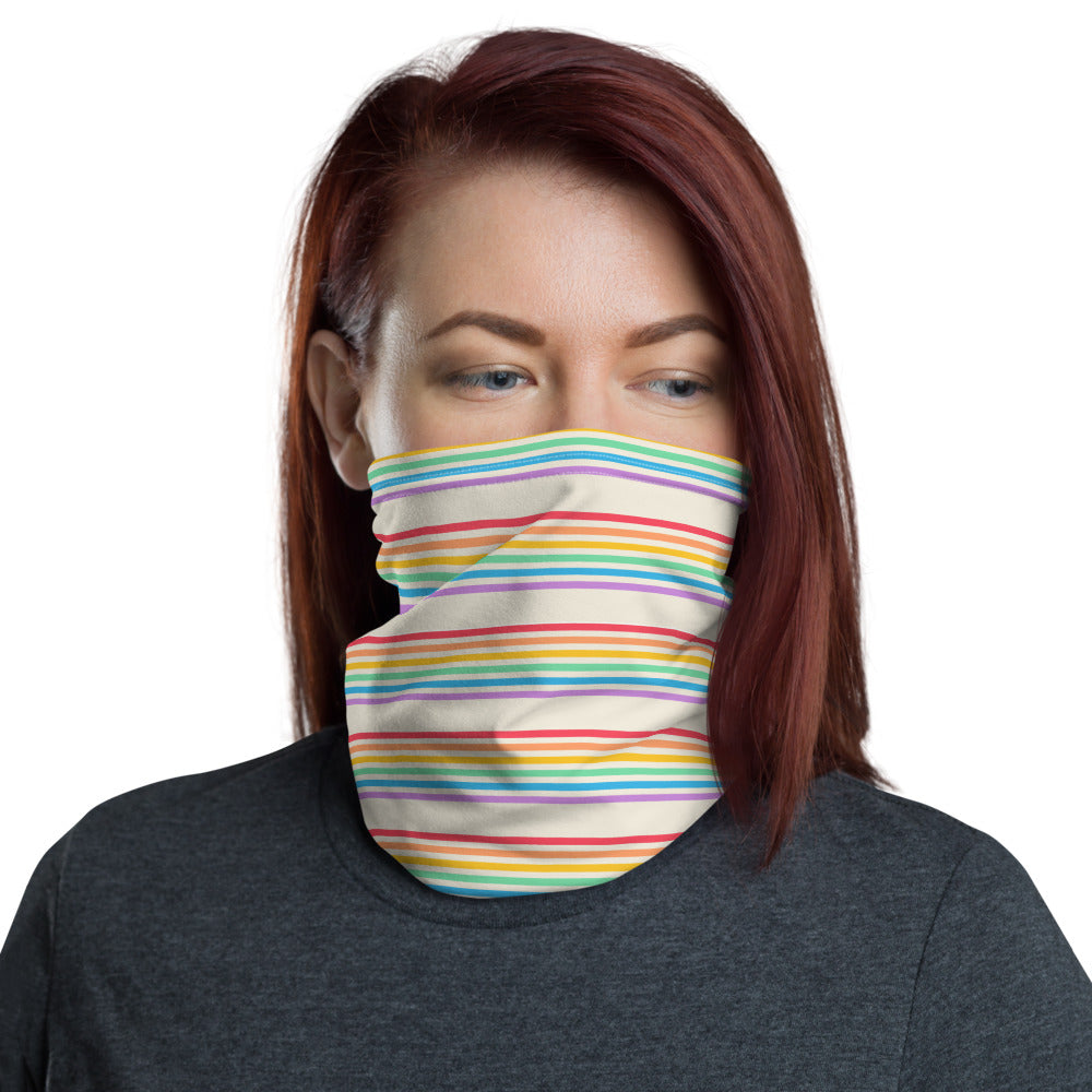 Rainbow Off White Print Neck gaiter