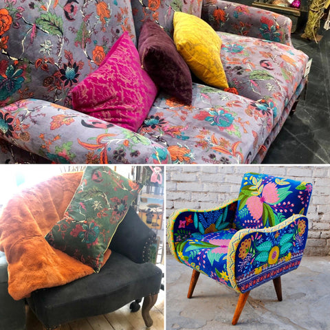 chairs, sofa, floral, velvet, home furniture, living room