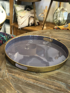 Round Enamel Tray Charcoal|Gold