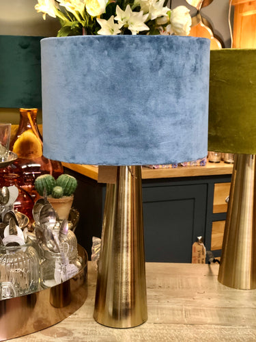 Brass Column Lamp With Velvet Shade Steel Blue