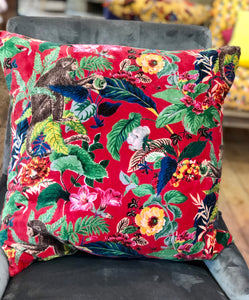 Monkey Jungle Red Cotton Velvet Cushion