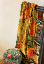 Kantha Patchwork Velvet Throw Mustard