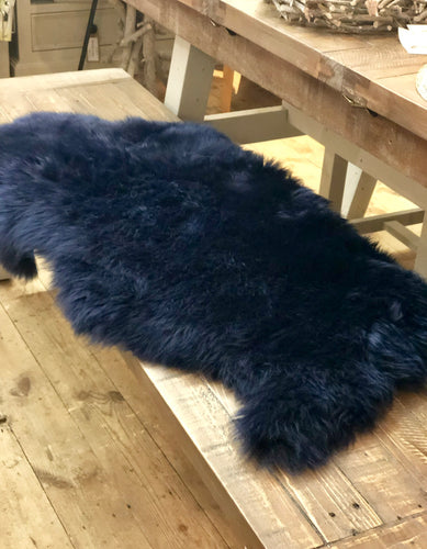Long Wool Medium Navy Sheepskin Rug animal skins, rugs home furniture shop