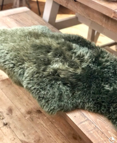 Long Wool Rug - Medium Green Sheepskin Rug animal skin rugs home furniture shop