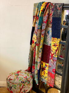Kantha Multi Coloured Patchwork Velvet Throw