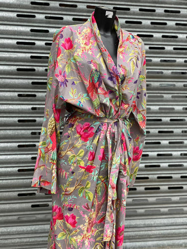 Ladies Cotton Kimono Bird of Paradise Design in Grey