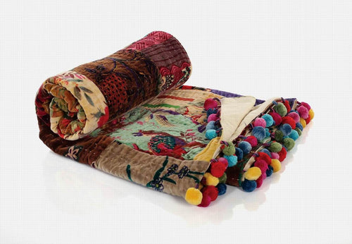 Kantha Patchwork Velvet Throw