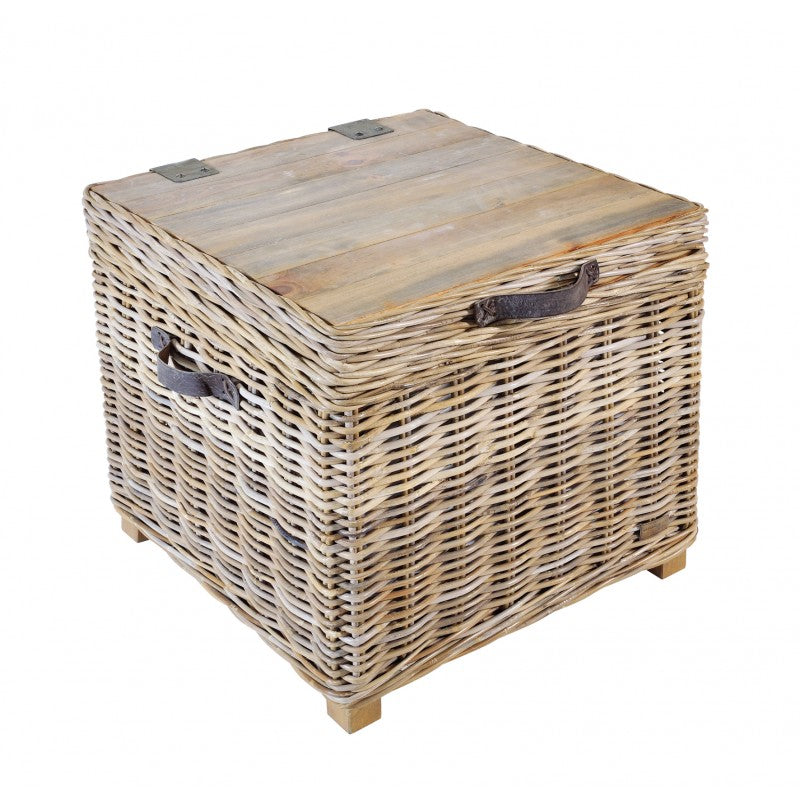 Maya Rattan Grey Wash Storage Side Table