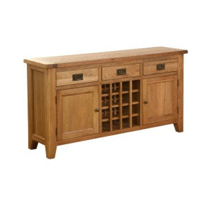 Vancouver Petite Oak 3 Drawer 2 Door Wine Table Affordable home furniture shop