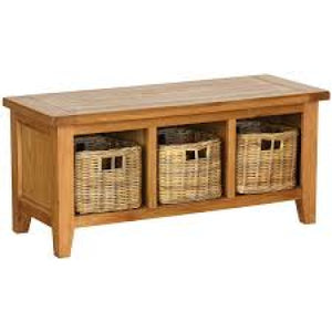 Vancouver Petite Oak Storage Bench with Basket Drawers