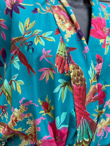 blue Ladies Cotton Kimono Bird of Paradise Design in Turquoise