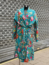 Ladies Cotton Kimono William Morris Floral in Turquoise