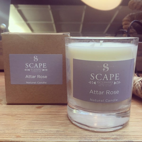 Scape Interiors Natural Organic Candle | Attar Rose heaven scent candlelight