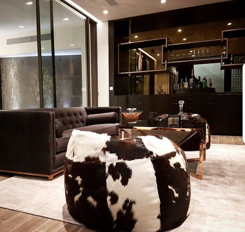 Large Luxury Cowhide Beanbag Tricolour, Floor Cushion, Affordable Home Furnishing