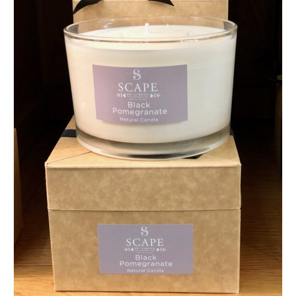 Scape Interiors Natural Organic Candle | Black Pomegranate 3 Wick