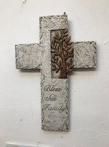 Bless This Family Cross sculpture and ornament home accessories affordable