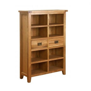 Vancouver Petite Oak 2 Drawer Wide Bookcase